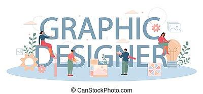 デジタル, ヘッダー, 印刷である, グラフィック, concept., デザイナー, イラストレーター, ∥あるいは∥