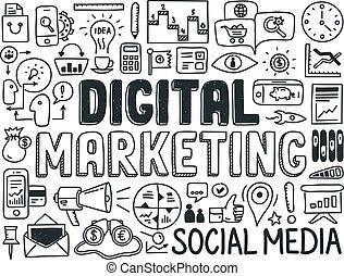 デジタル, マーケティング, いたずら書き, 要素, セット