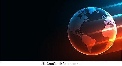 デジタル, ライト, 地球, 白熱, 技術, 背景, 未来派