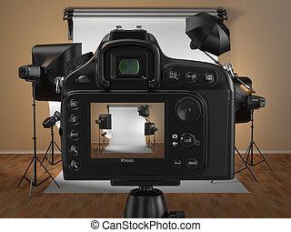 デジタル, 写真カメラ, 中に, スタジオ, ∥で∥, softbox, そして, フラッシュ