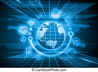 デジタル, 地球, イメージ