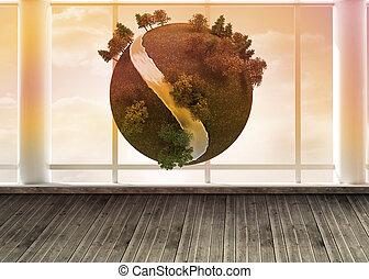デジタル, 地球, 浮く, 中に, 部屋