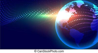 デジタル, 地球, globalization, デザイン, 概念, 背景, 未来派