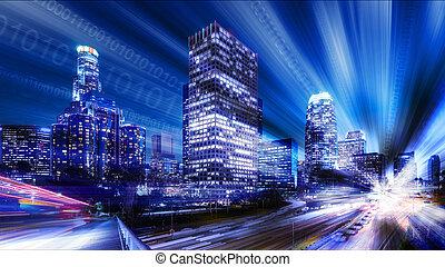 デジタル, 抽象的, の, ロサンゼルス
