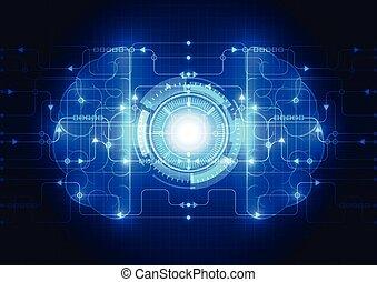 デジタル, 抽象的, 技術, 回路, ベクトル, 脳, 概念, 電気である