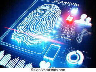 デジタル, 指紋, 走査