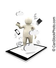 デジタル, 数字, 上に, a, タブレットの pc, ∥で∥, ビジネス 記号