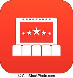 デジタル, 映画館, 赤, アイコン
