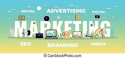 デジタル, 概念, マーケティング