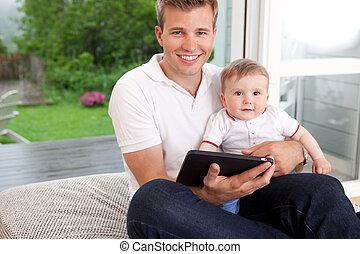 デジタル, 父, タブレット, 息子