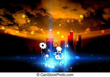 デジタル, 社会, connected., ネットワーク, 技術, 世界, 概念