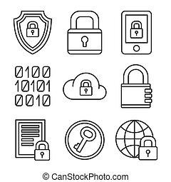 デジタル, 線, set., セキュリティー, encrypt, アイコン, ベクトル, スタイル, 技術