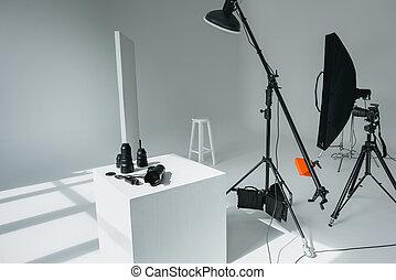 デジタル, 装置, 中に, 写真の スタジオ