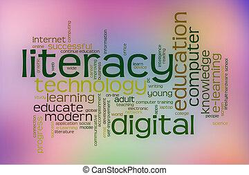 デジタル, 読み書き能力, 単語, 雲, ∥で∥, 抽象的, 背景