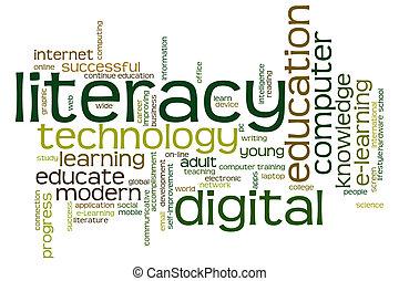 デジタル, 読み書き能力, 単語, 雲
