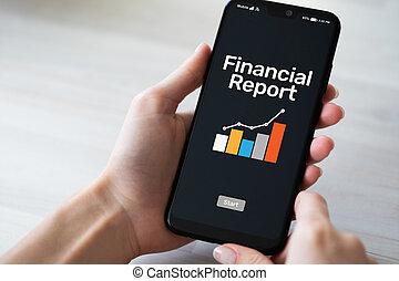 デジタル, 財政, モビール, screen., レポート, fintech, concept., 電話, 適用, 銀行業