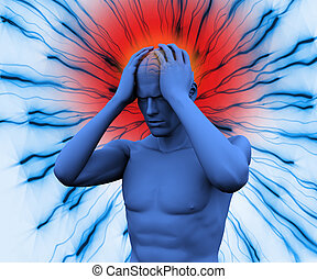 デジタル, 頭痛, 持つこと, 体