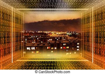 デジタル, city., 2進, tunn