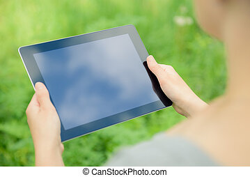デジタル, holfing, タブレット, 手