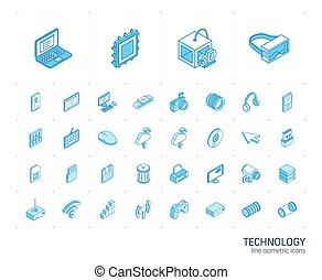 デジタル, icons., ベクトル, 線, 3d, 技術, 等大