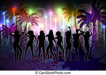デジタル, nightlife, 背景, 発生させる