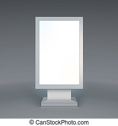 デジタル, signage., ブランク, 広告, 広告板, 上に, グレーのバックグラウンド