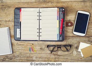 デスクトップ, 混合, 上に, a, 木製である, オフィス, テーブル。