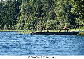 デッキチェア, 湖の 森林, 桟橋, ボート