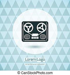 デッキ, テープ, ロゴ, レコーダー, 巻き枠, アイコン