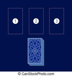 デッキ, 広がり, カード, テンプレート, tarot, 3