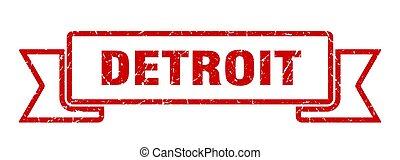デトロイト, グランジ, バンド, ribbon., 赤, 印
