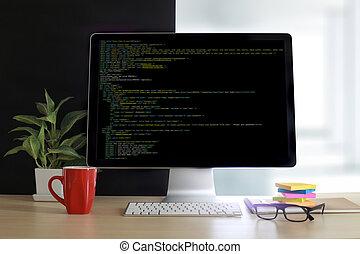 デベロッパー, チーム, 仕事, ラップトップ・コンピュータ, モビール, 適用, softwareand, 網の設計,...
