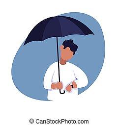 デベロッパー, 時間, 傘, 下に, ベクトル, 色, フリー, 顔つき, イラスト