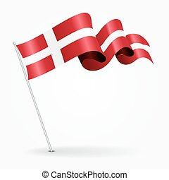 デンマーク, ピン, 波状, flag., ベクトル, illustration.
