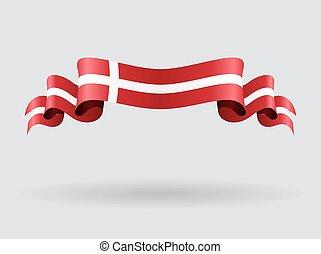 デンマーク, 波状, ベクトル, illustration., flag.