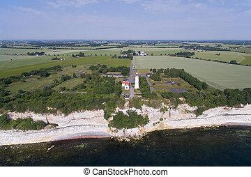 デンマーク, 灯台, 光景, 航空写真, stevns