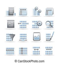 データベース, そして, テーブル, フォーマット化, アイコン