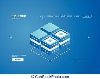 データベース, アイコン, データ処理, そして, 雲, 貯蔵, 概念, デジタルの技術, 抽象的, 要素, 等大