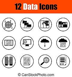 データ, アイコン, セット