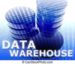 データ, 倉庫, イラスト