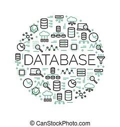 データ, 単語, illustration., アイコン, network…, 大きい, 囲まれた, 計算, サーバー, データベース, ベクトル, 背景, 雲