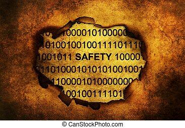 データ, 安全, 上に, ペーパー, 穴
