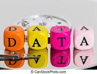 データ, 手紙, 立方体, 上に, ハードディスク, 概念