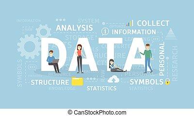 データ, 概念, illustration.