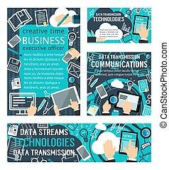 データ, 流れ, 技術, ベクトル, ポスター