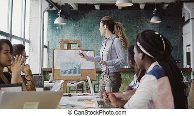 データ, 財政, work., ビジネス, オフィス。, 現代, 創造的, マネージャー, motivates, 提出すること, 女性, チームのミーティング