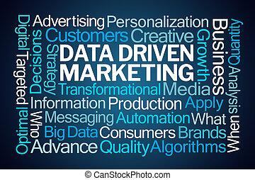 データ, 運転された, マーケティング, 単語, 雲