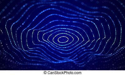 データ, 青, particles., 動的, rendering., 大きい波, 抽象的, デジタル, 3d, visualization., バックグラウンド。, 未来派
