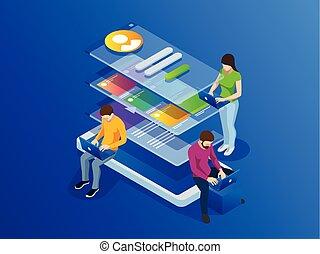 データ, concept., 大きい, プログラミング, 処理, 電話, ソフトウェア, プログラミング, 等大, 開発