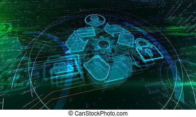 データ, managment, ホログラム